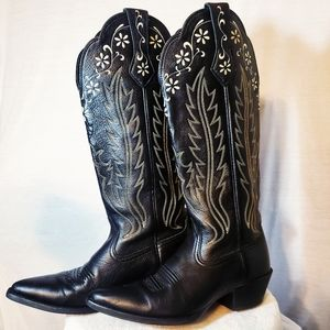 Ariat Contrast Stitching Floral Leather Boots 6B